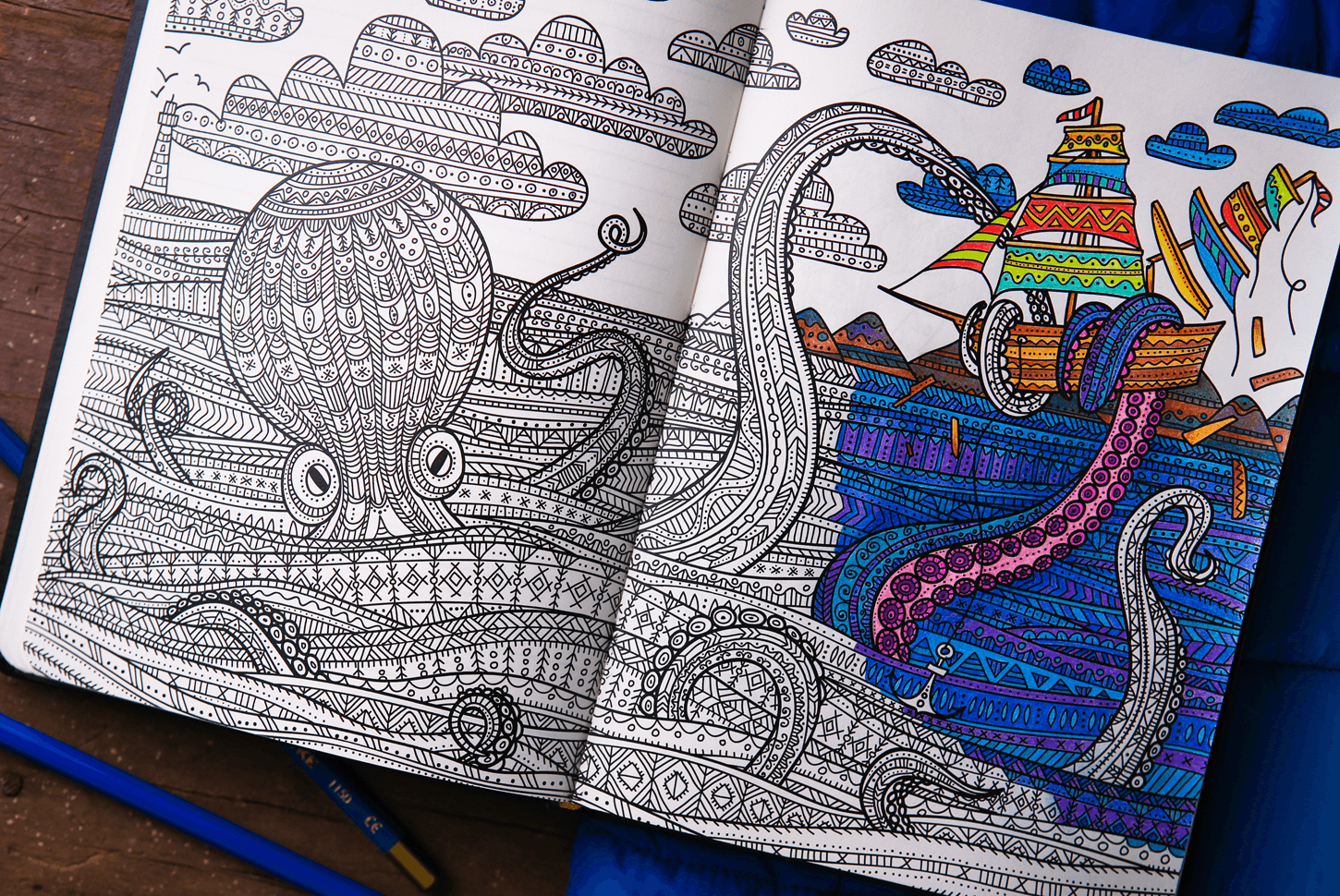 Paper Notebook With Adult Coloring Pages